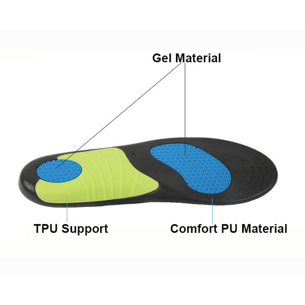 Hot Sale Men and Women PU GEL Personalizzato Comfort Insole ZG -300